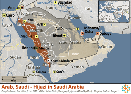 Arab, Saudi - Hijazi in Saudi Arabia map