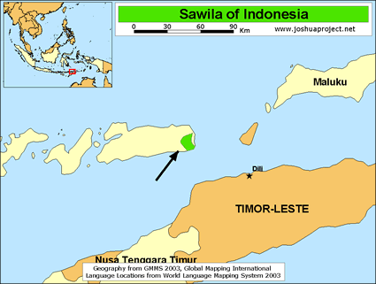 Sawila in Indonesia map