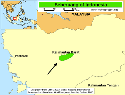 Seberuang in Indonesia map