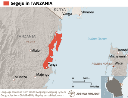 Segeju in Tanzania map