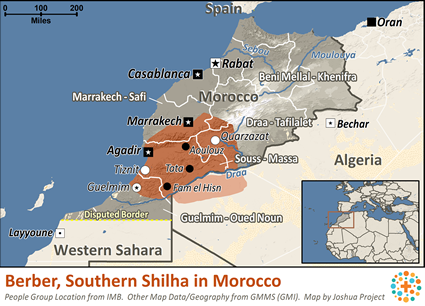 Berber, Southern Shilha in Morocco map