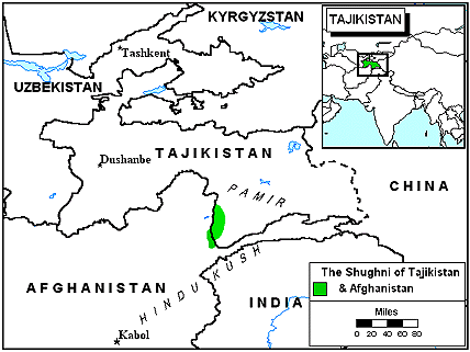 Shughni in Afghanistan map