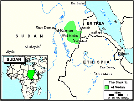 Shukria in Sudan map