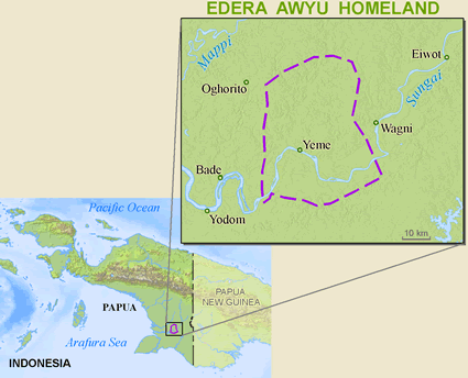 Siagha-Yenimu, Oser in Indonesia map