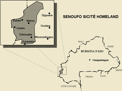 Senoufo, Central in Burkina Faso map