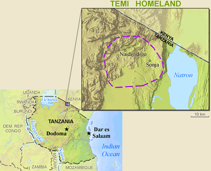 Temi in Tanzania map