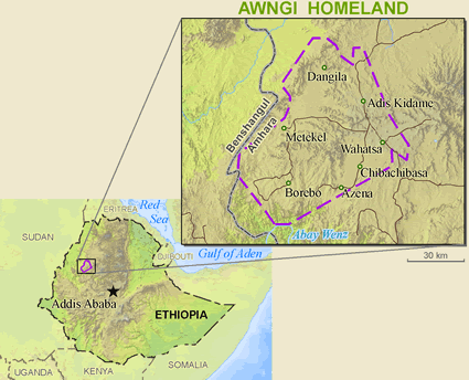 Awi in Ethiopia map