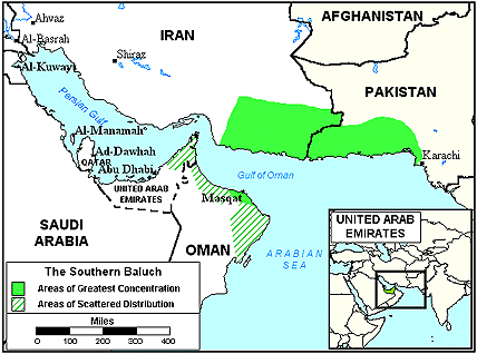 Baloch, Southern in United Arab Emirates map