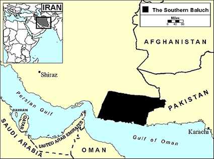 Baloch, Southern in Iran map