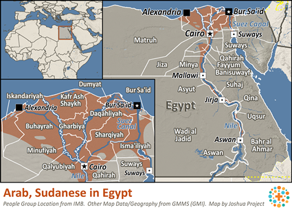 Arab, Sudanese in Egypt map