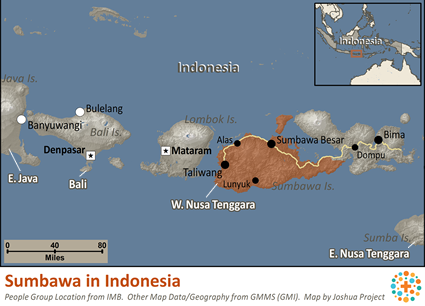 Sumbawa in Indonesia map