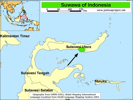 Suwawa in Indonesia map