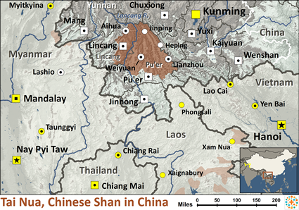 Tai Nua, Chinese Shan in China map