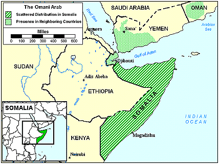 Arab, Yemeni in Somalia map