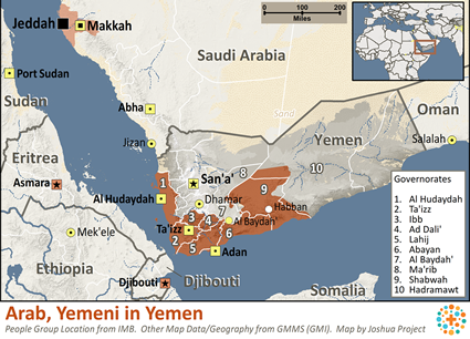 Arab, Yemeni in Yemen map