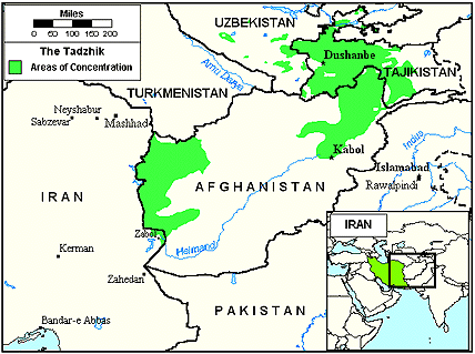 Tajik, Tadzhik in Iran map