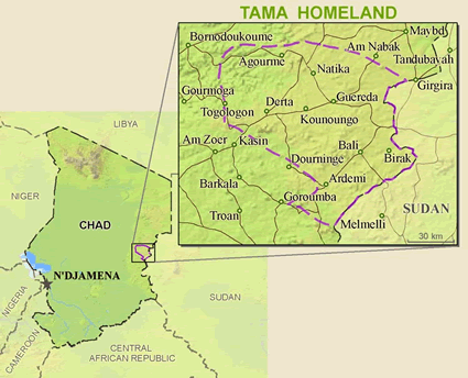 Tama in Chad map