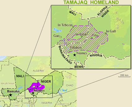 Tuareg, Tamajaq in Mali map