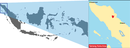 Tamiang in Indonesia map