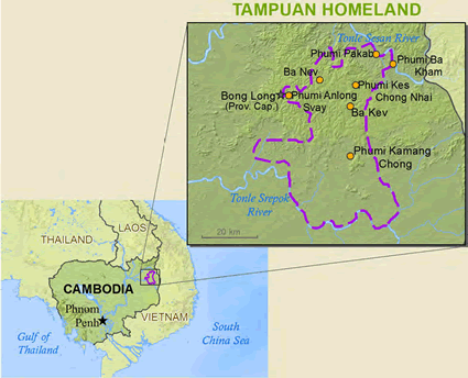 Tampuan in Cambodia map