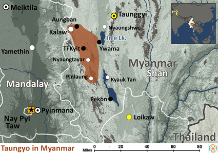 Taungyo in Myanmar (Burma) map