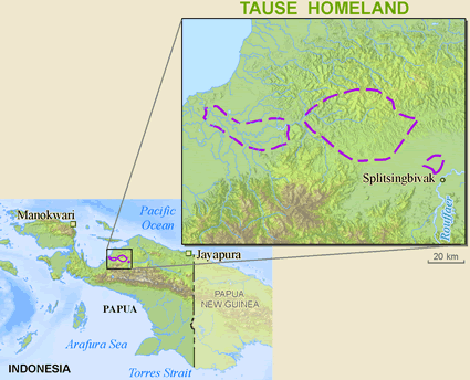 Tause in Indonesia map