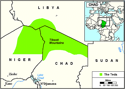 Tubu, Teda in Chad map