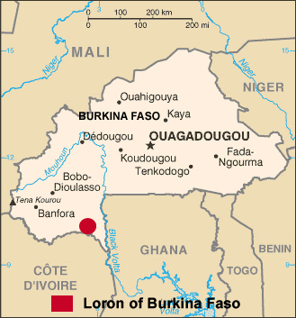 Tenbo, Loron in Burkina Faso map