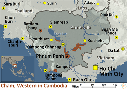 Cham, Western in Cambodia map