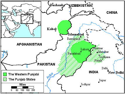 Punjabi, Western in Afghanistan map