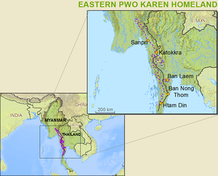 Karen, Pwo Eastern in Thailand map