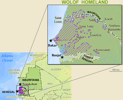 Wolof in Mauritania map