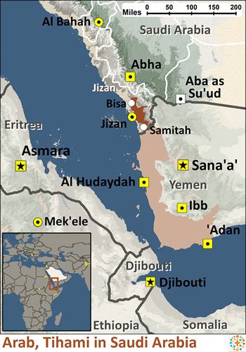 Arab, Tihami in Saudi Arabia map