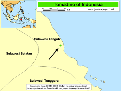 Tomadino in Indonesia map