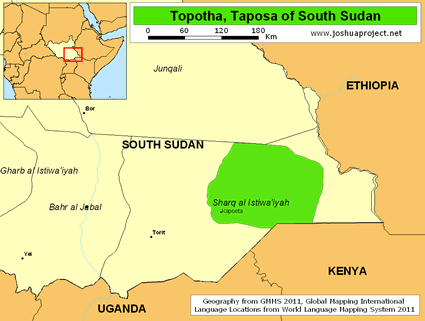Toposa in South Sudan map