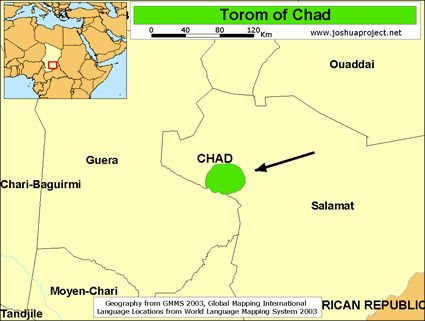 Torom in Chad map