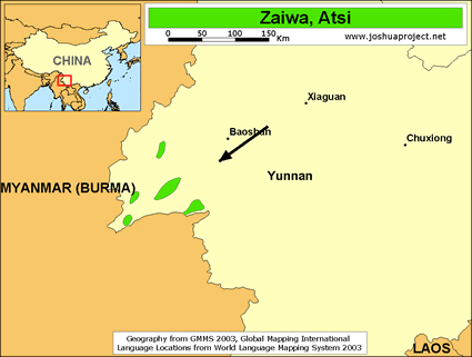 Zaiwa in China map