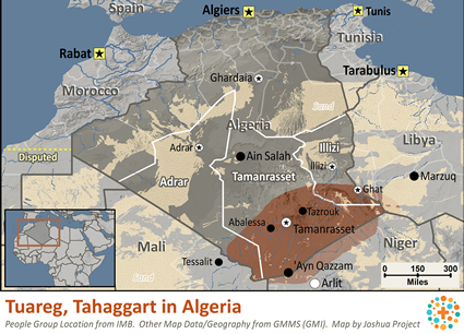 Tuareg, Tahaggart in Algeria map