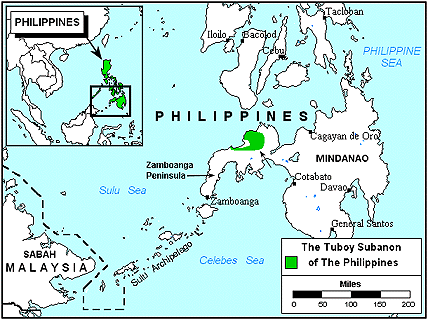 Subanen, Tuboy in Philippines map
