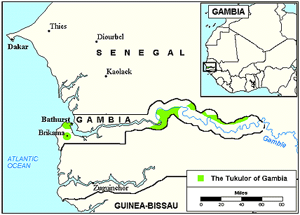 Fulani, Pulaar in Gambia map