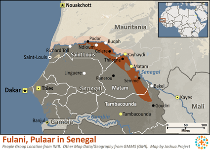 Fulani, Pulaar in Senegal map
