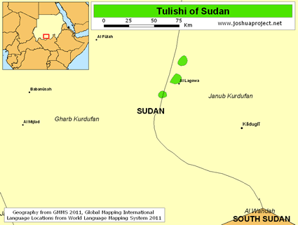 Tulishi in Sudan map