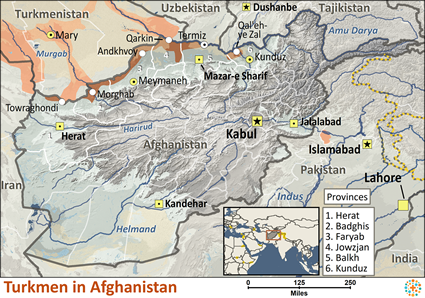 Turkmen in Afghanistan map