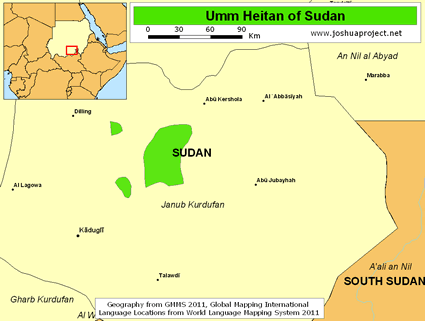 Umm Heitan in Sudan map