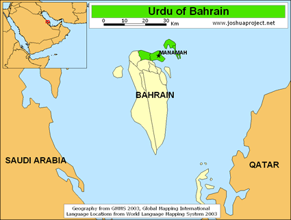 Urdu in Bahrain map