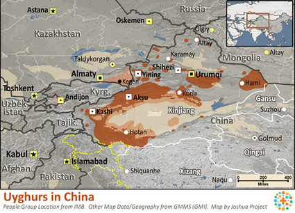 Uyghur in China map