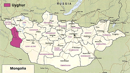 Uyghur in Mongolia map