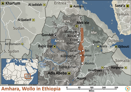 Amhara, Wollo in Ethiopia map