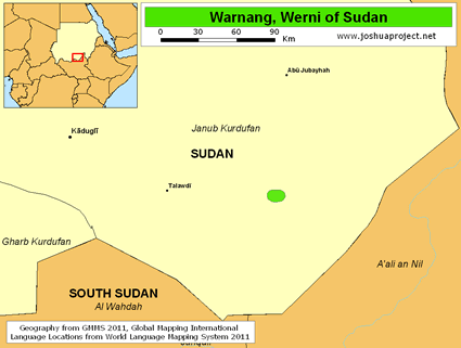 Warnang, Werni in Sudan map