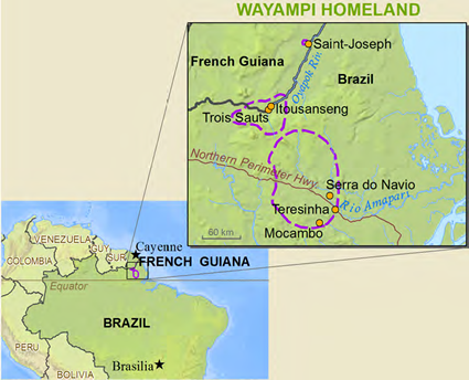 Wayampi, Oiapoque in French Guiana map